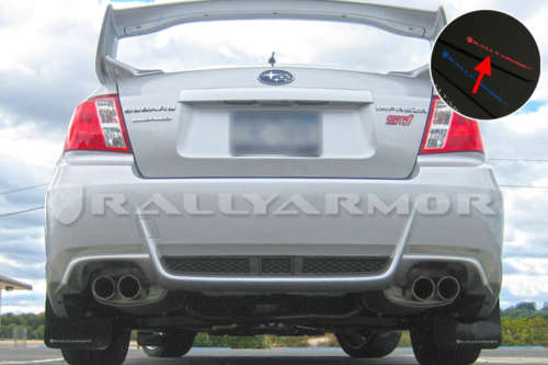 Rally Armor MF19-UR-BLK/RD UR Mud Flaps Black Urethane Red Logo Subaru WRX/STI Sedan 2011-2014